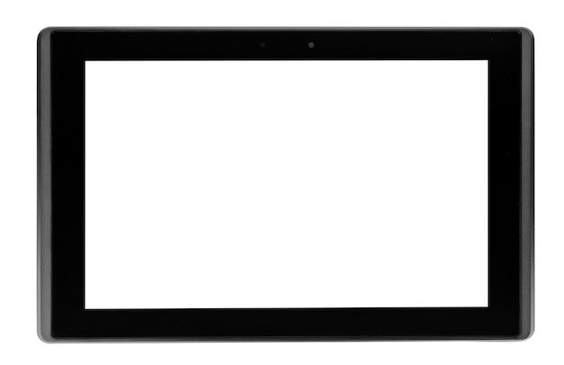 Ordinateur tablette isolé sur le mur blanc