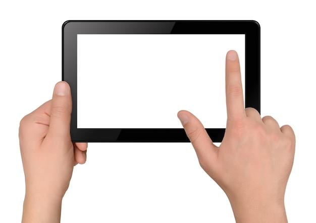 Ordinateur tablette avec les mains isolés sur fond blanc