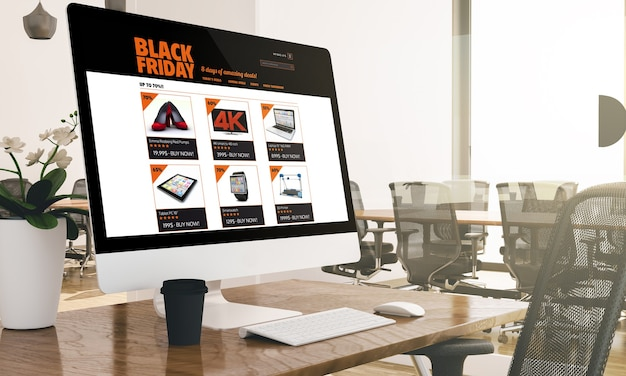 Ordinateur avec vendredi noir sur maquette de bureau d'affaires moderne