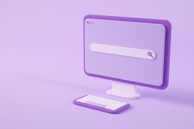 Ordinateur violet minimal avec rendu 3d de recherche en ligne