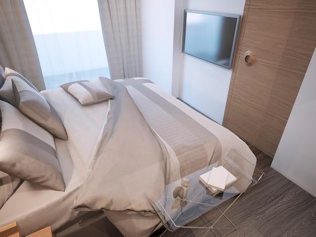 Oreillers de style moderne de chambre d'hôtes aux couleurs beige et crème