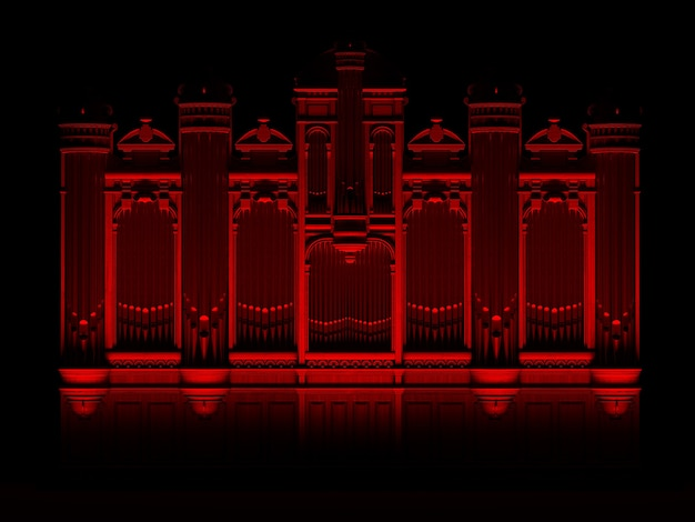 Orgue à tuyaux concept abstrait rouge noir