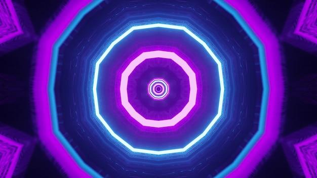 Ornement octogonal au néon 4k uhd 3d illustration