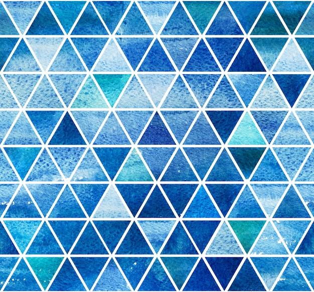 Ornement de tuile de mosaïque sans couture aquarelle bleue.