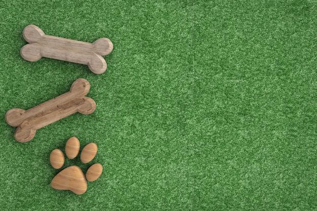 Os de chien et patte de chien sur fond d'herbe verte