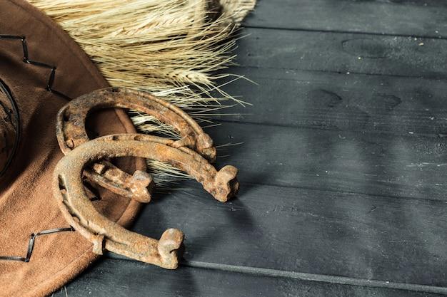 Ouest américain nature morte avec vieux fer à cheval