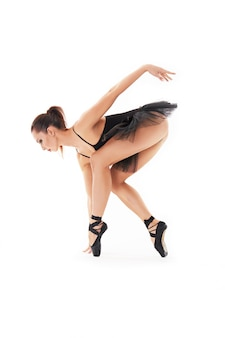 Oung Belle Danseuse Baliet Posant Sur Un Studio En Fond Blanc Photo Premium