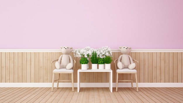 Ours jumeau et fleur dans la chambre rose