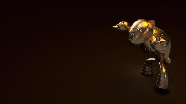 Ours d'or, rendu 3d sur dark