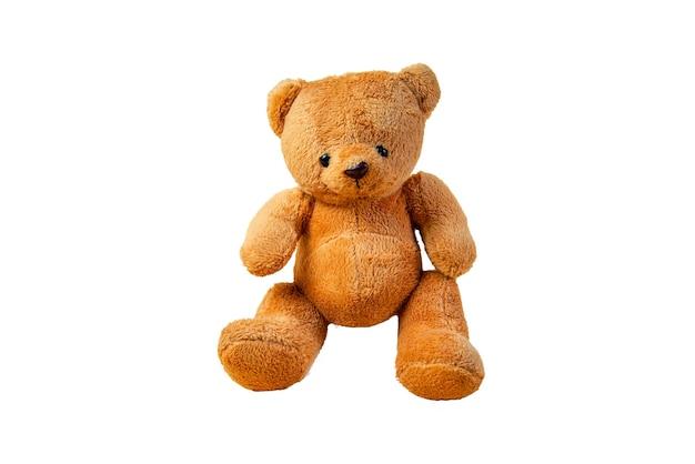 Ours en peluche brun solitaire sur fond blanc, découpé à l'emporte-pièce. objet.