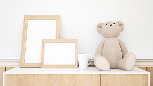 Ours en peluche et cadre photo pour oeuvres d'art - rendu 3d
