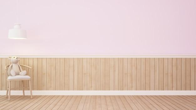 Ours en peluche sur une chaise dans la chambre rose-3d rendering.jpg