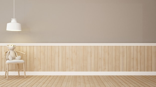 Ours en peluche sur une chaise dans la pièce marron-rendu 3d
