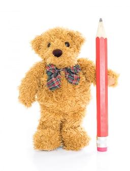 Ours en peluche avec un crayon rouge