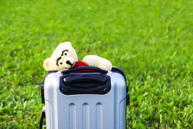 Ours en peluche dans un sac de voyage ouvert avec des vêtements sur une prairie d'été verte.