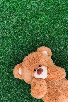 L'ours en peluche dormait sur l'herbe visage heureux