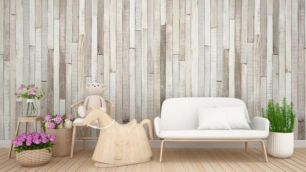 Ours en peluche sur un fauteuil avec un mur de fleurs et de bois dans une chambre d'enfant ou une pépinière