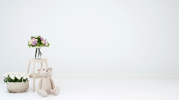 Ours en peluche et fleur pour les oeuvres d'art - rendu 3d
