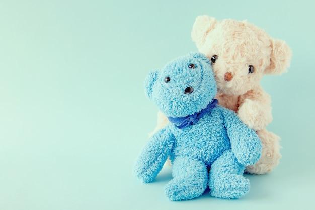Ours en peluche sur fond pastel, la poupée de couple sont heureux dans la relation est amant.