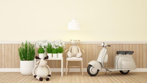 Ours en peluche et girafe dans une salle d'étude ou un café - rendu 3d