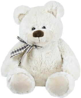 Ours en peluche jouet blanc isolé sur fond blanc