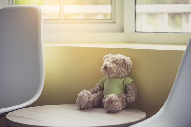 Ours en peluche solitaire près de la fenêtre