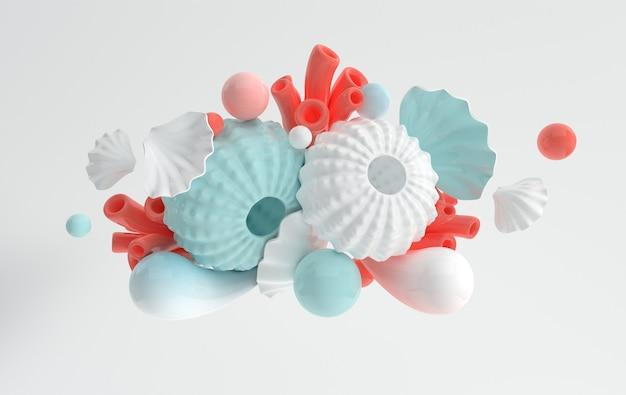 Oursins coquillages corail et bulles ensemble de rendu