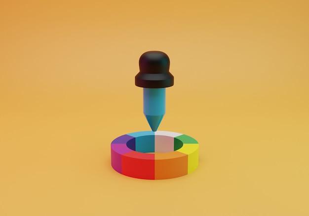 Outil de conception de choix de couleurs, rendu 3d