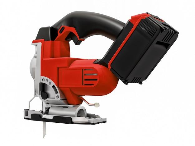 L'outil est une scie sauteuse électrique rouge sur fond blanc isolé. rendu 3d.