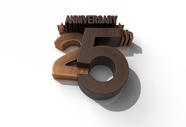 Outil de stylo de célébration du 25e anniversaire de rendu 3d, tracé de détourage créé inclus dans jpeg facile à composer.