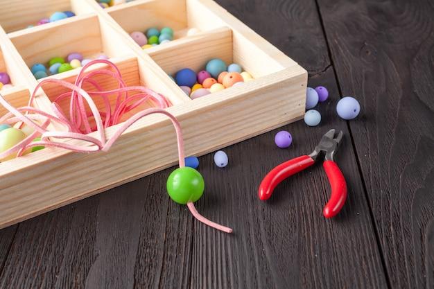 Outils de bricolage, accessoires de bracelet et collier de perles de pierre avec espace de copie
