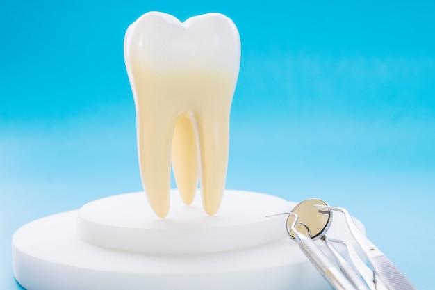 Outils dentaires et modèle de dent sur le fond bleu