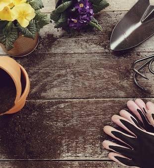 Outils de jardinage et pot de fleur sur fond de bois