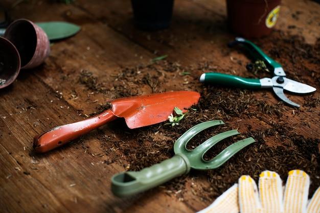 Outils de jardinage sur une table en bois