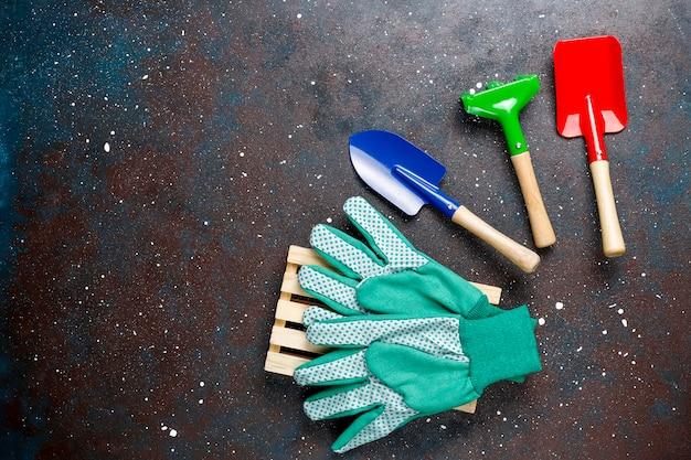 Outils de jardinage sur table sombre avec plante d'intérieur et gants