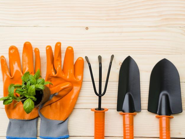 Outils de jardinage vue de dessus