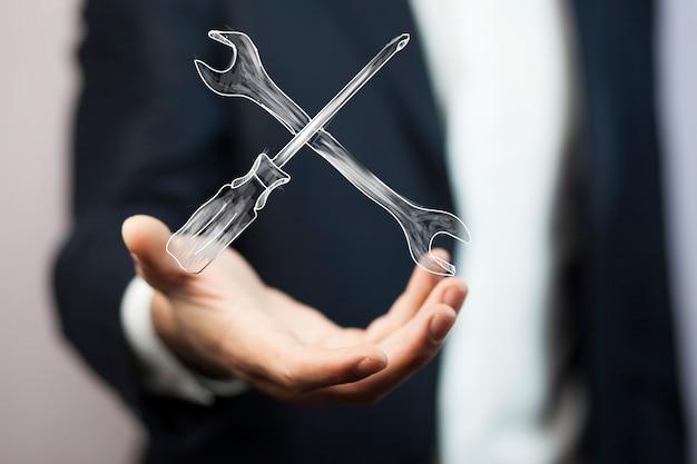 Outils de mécanicien à main de l'homme