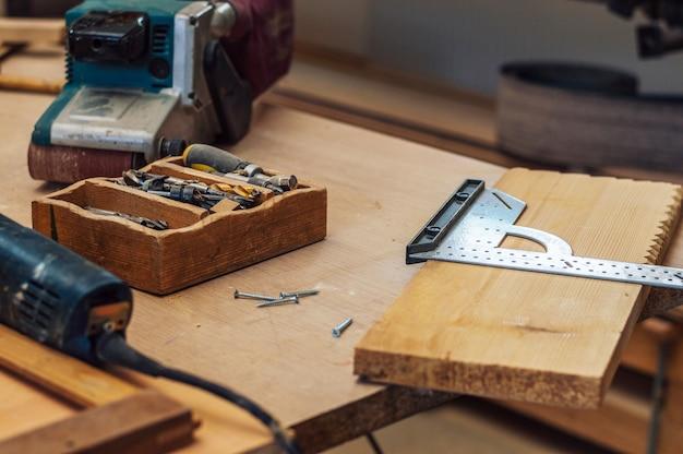 Outils de menuisier et espace de travail