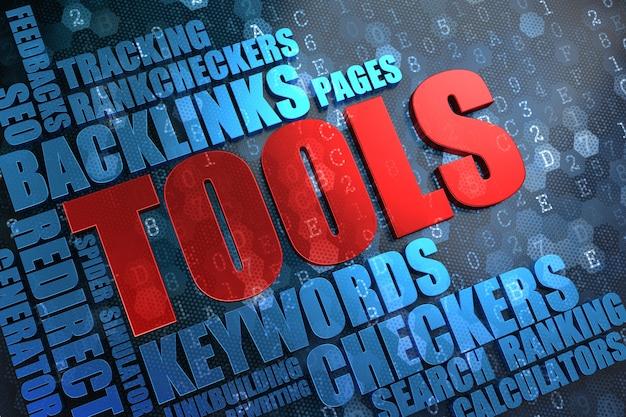 Outils - mot principal rouge avec wordcloud bleu sur fond numérique.