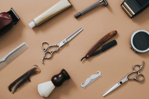 Outils de salon vintage dans les emplois et le concept de carrière