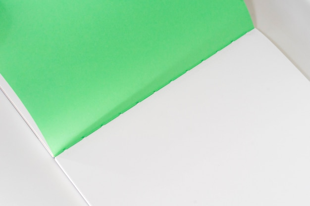 Ouvert le livre blanc au fond de papier design vert blanc.