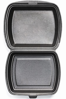 Ouvert lunch box jetable, noir pour le service de livraison de nourriture sur fond blanc