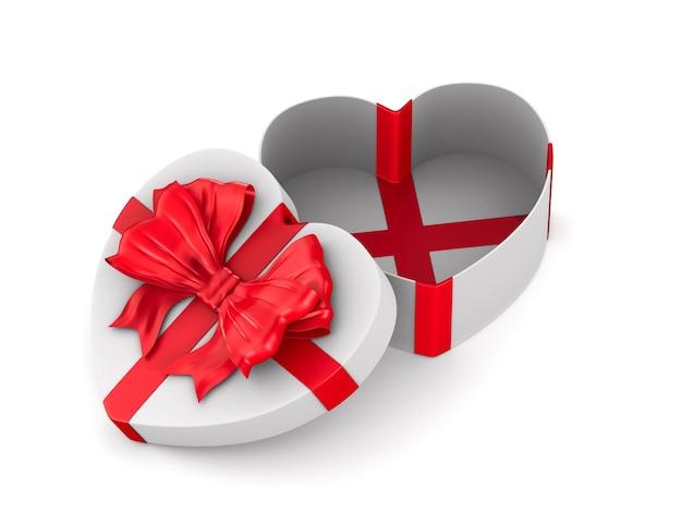 Ouvrez la boîte-cadeau sur l'espace blanc. illustration 3d isolée