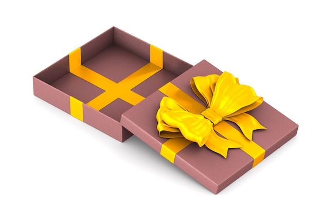 Ouvrez la boîte cadeau rose avec un arc rouge sur l'espace blanc. illustration 3d isolée