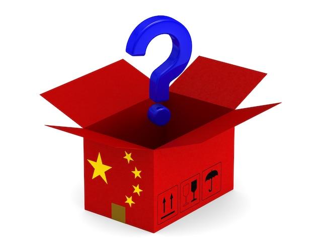 Ouvrez la boîte de chargement chinoise et question sur blanc.