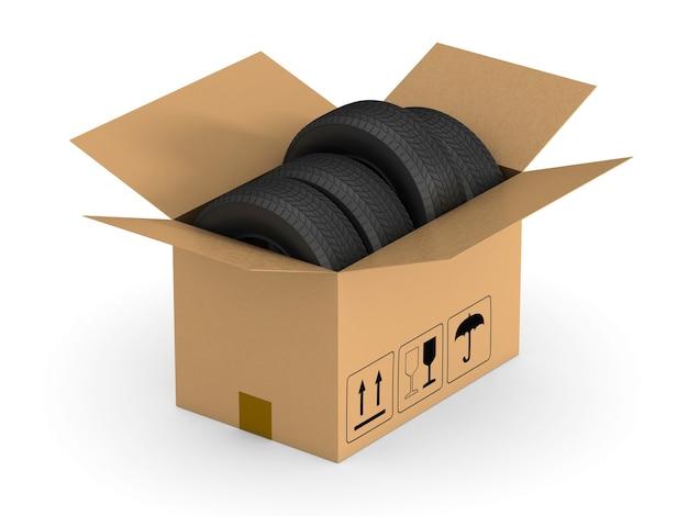 Ouvrez la boîte de chargement avec des pneus. isolé, rendu 3d