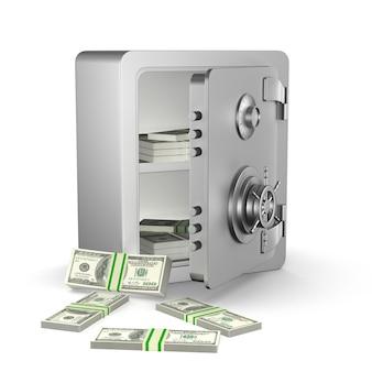 Ouvrez le coffre-fort avec de l'argent. rendu 3d isolé