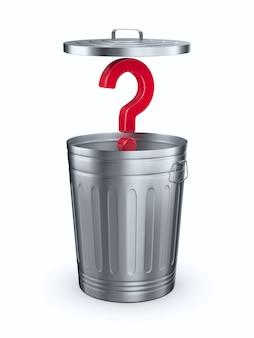 Ouvrez le panier à ordures et posez des questions. isolé, rendu 3d