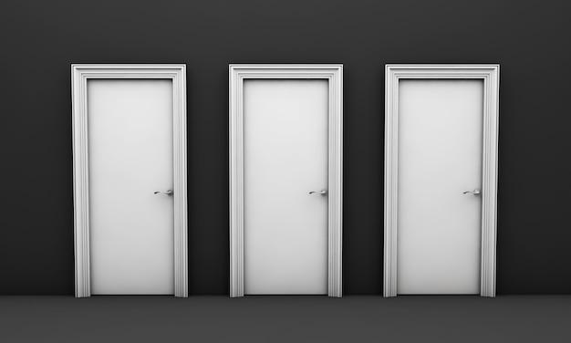 Ouvrez la porte blanche dans une pièce vide noire rendu 3d