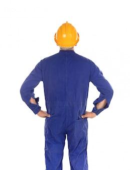 Ouvrier construction, à, casque jaune